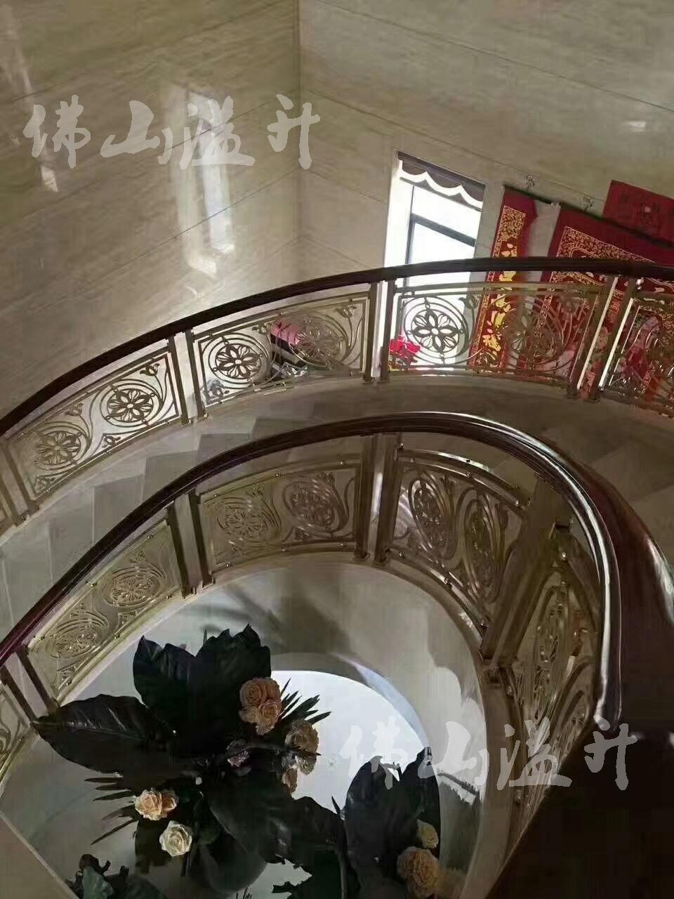 宁波现代别墅铜艺楼梯扶手