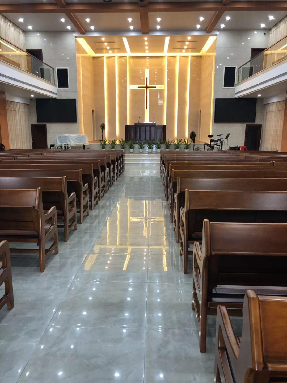 专业订做教堂教会长椅厂家直销 华久庆