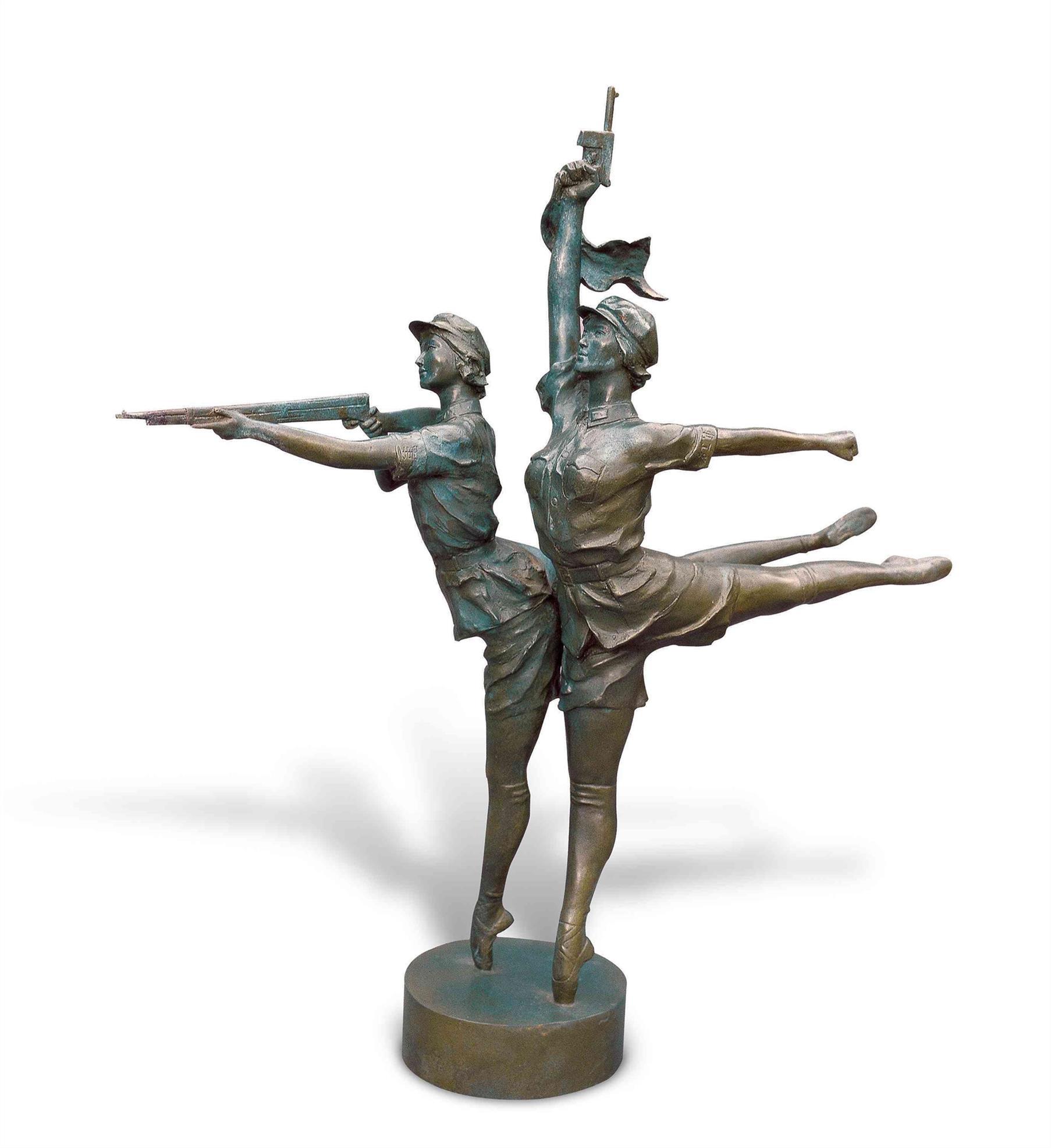 玻璃钢人物雕塑 军旅主题仿铜效果玻璃钢制作 主题雕塑设计